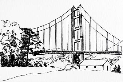 Drawing - Golden Gate Bridge Black-n-white by Masha Batkova