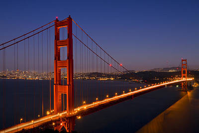 Lit Photograph - Golden Gate Bridge At Night by Melanie Viola