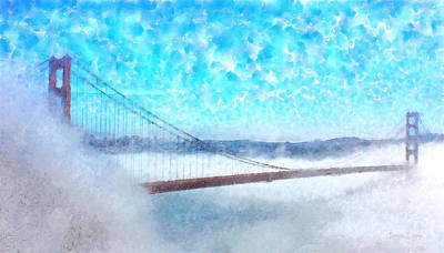Overcast Digital Art - Golden Gate Bridge - Da by Leonardo Digenio
