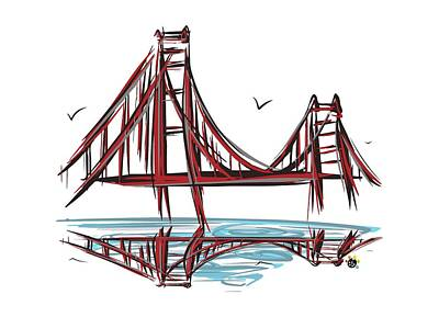 Digital Art - Golden Gate Bridge by Devon LeBoutillier