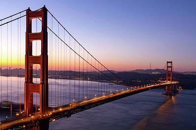 Photograph - Golden Gate Bridge During Sunrise by David Gn