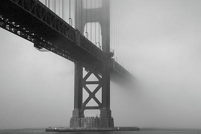 Art Print featuring the photograph Golden Gate Bridge Fog - Black And White by Stephen Holst