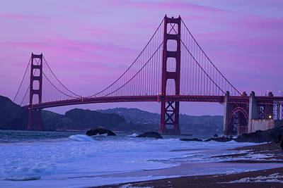 Photograph - Golden Gate Bridge From Baker Beach At Sunset by Teri Virbickis