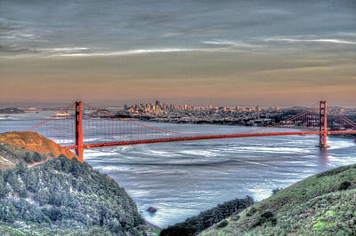 Photograph - Golden Gate Bridge From Marin Headlands by SC Heffner