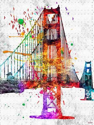 Golden Gate Mixed Media - Golden Gate Bridge Grunge by Daniel Janda