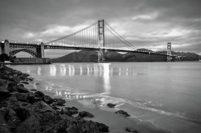 Photograph - Golden Gate Bridge In Black And White - San Francisco Cityscape by Gregory Ballos