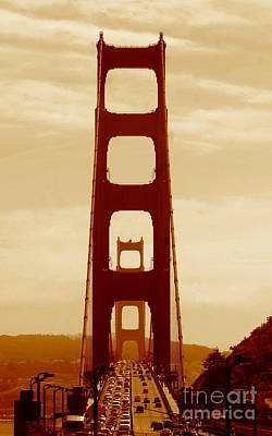 Photograph - Golden Gate Bridge In California A Sepia Tone Perspective by Michael Hoard