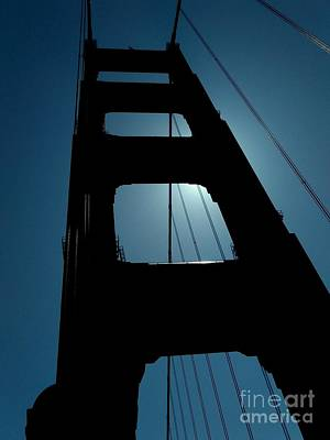 Photograph - Golden Gate Bridge In California A Silhouette  by Michael Hoard