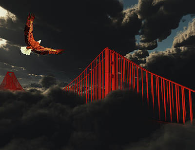 Digital Art - Golden Gate Bridge In Heavy Fog Clouds With Eagle by Bruce Rolff