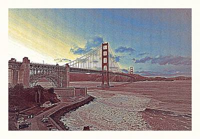 Park Scene Painting - Golden Gate Bridge In San Francisco by Celestial Images