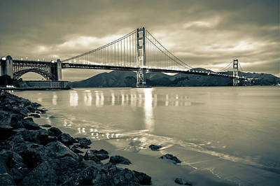 Photograph - Golden Gate Bridge In Sepia - San Francisco Cityscape by Gregory Ballos