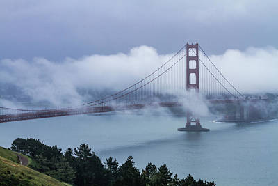 Photograph - Golden Gate Bridge In The Fog by Teri Virbickis