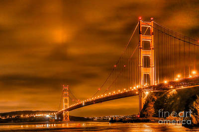 Art Print featuring the photograph Golden Gate Bridge - Nightside by Jim Carrell