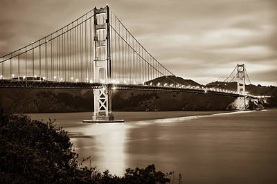 Photograph - Golden Gate Bridge Of San Francisco California Usa - Sepia by Gregory Ballos