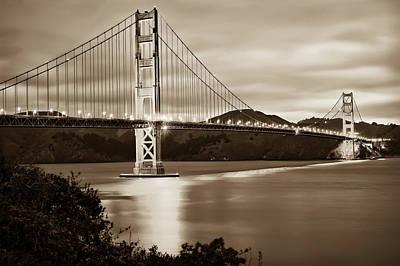 Photograph - Golden Gate Bridge Of San Francisco California Usa - Sepia by Gregory Ballos