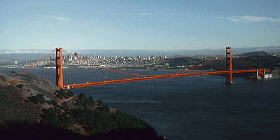 Drawing - Golden Gate Bridge San Francisco Panorama by Peter Potter