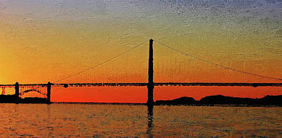 Digital Art - Golden Gate Bridge Panoramic by PixBreak Art