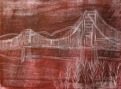 Printmaking Mixed Media - Golden Gate Bridge Red Woodcut Print  by Marina McLain