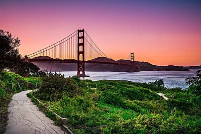 Photograph - Golden Gate Bridge San Francisco California At Sunset by Alex Grichenko