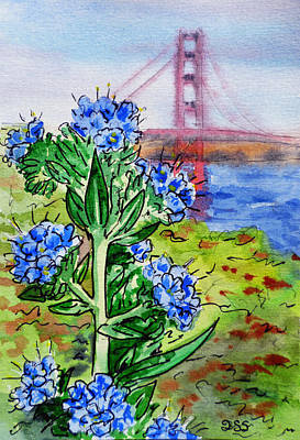California Watercolor Artists Painting - Golden Gate Bridge San Francisco by Irina Sztukowski