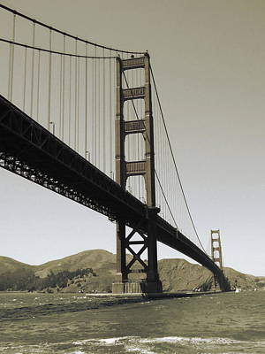 Photograph - Golden Gate Bridge San Francisco - Vintage Photo Art Print by Art America Gallery Peter Potter