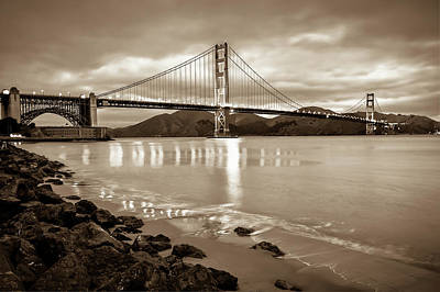 Photograph - Golden Gate Bridge - Sepia - San Francisco Cityscape by Gregory Ballos