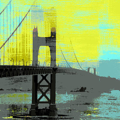 Bay Bridge Mixed Media - Golden Gate Bridge, Sf V1 by Brandi Fitzgerald
