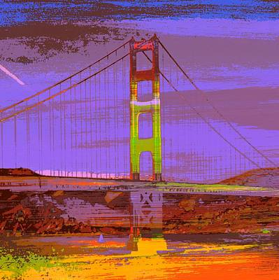 Bay Area Mixed Media - Golden Gate Bridge, Sf V1 by Brandi Fitzgerald