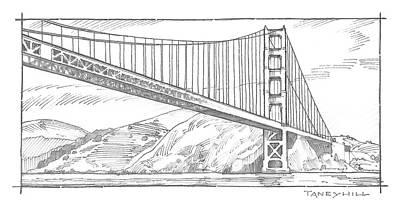 Golden Gate Bridge Sketch Art Print by Tom Taneyhill