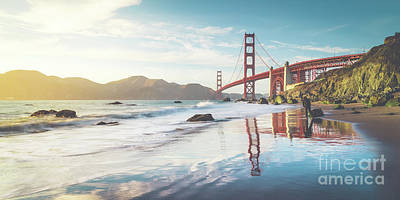 Photograph - Golden Gate Bridge Sunset Panorama by JR Photography