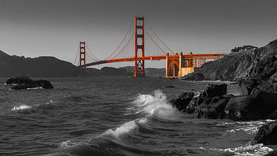 Golden Gate Bridge Sunset Study 1 Bw Print by Scott Campbell
