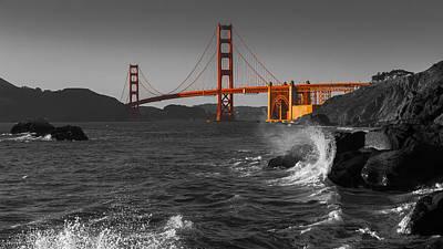 Photograph - Golden Gate Bridge Sunset Study 2 Bw by Scott Campbell