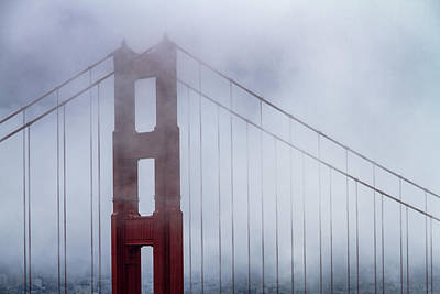 Photograph - Golden Gate Bridge Top In The Fog by Teri Virbickis
