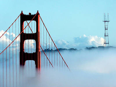 Golden Gate Bridge Tower Fog Antenna Art Print