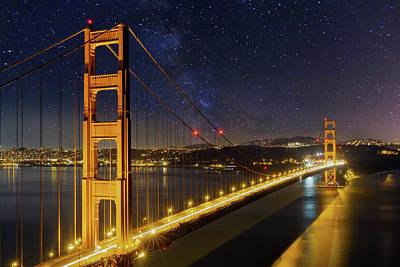 Photograph - Golden Gate Bridge Under The Starry Night Sky by David Gn
