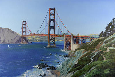 Painting - Golden Gate Bridge Viewed From Coastal Trail by Mike Patterson