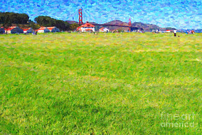 Golden Gate Bridge Viewed From Crissy Fields Art Print by Wingsdomain Art and Photography