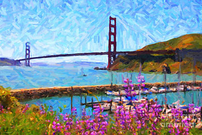 Jetty Digital Art - Golden Gate Bridge Viewed From Fort Baker by Wingsdomain Art and Photography