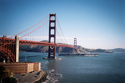 Photograph - Golden Gate Bridge With Aircraft Carrier by Frank DiMarco