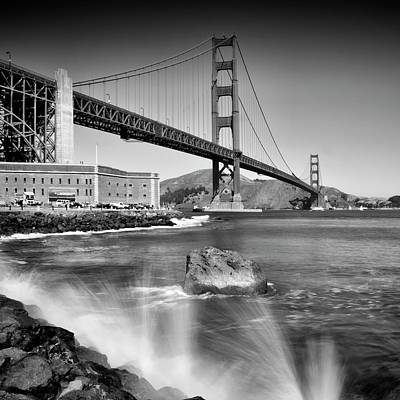Golden Gate Photograph - Golden Gate Bridge With Breakers by Melanie Viola
