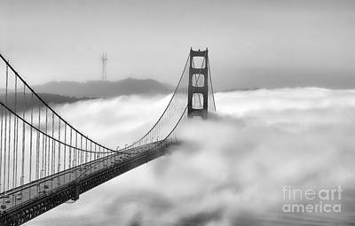 Chuck Kuhn Photograph - Golden Gate Bw Fog by Chuck Kuhn