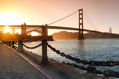 Golden Gate Chain Link Print by Sean Davey