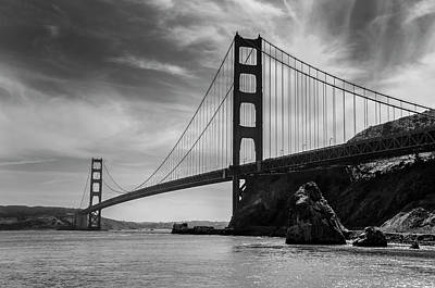 Photograph - Golden Gate East Bw by David Cabana