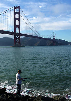 Photograph - Golden Gate Fisherman by Aidan Moran