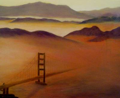 Painting - Golden Gate Fog by Jamie Frier