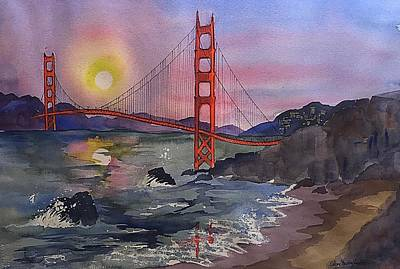 Painting - Golden Gate From Baker Beach by Esther Woods