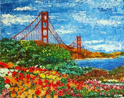 Sanfrancisco Painting - Golden Gate Garden by Hema Sukumar