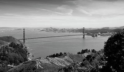 Photograph - Golden Gate In Monochrome by David Cabana