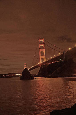 Bridge Photograph - Golden Gate Night  by April Bielefeldt