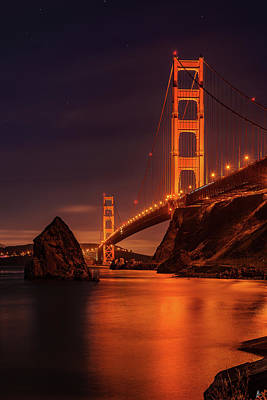 Photograph - Golden Gate Portrait By Night by Patrice Bilesimo